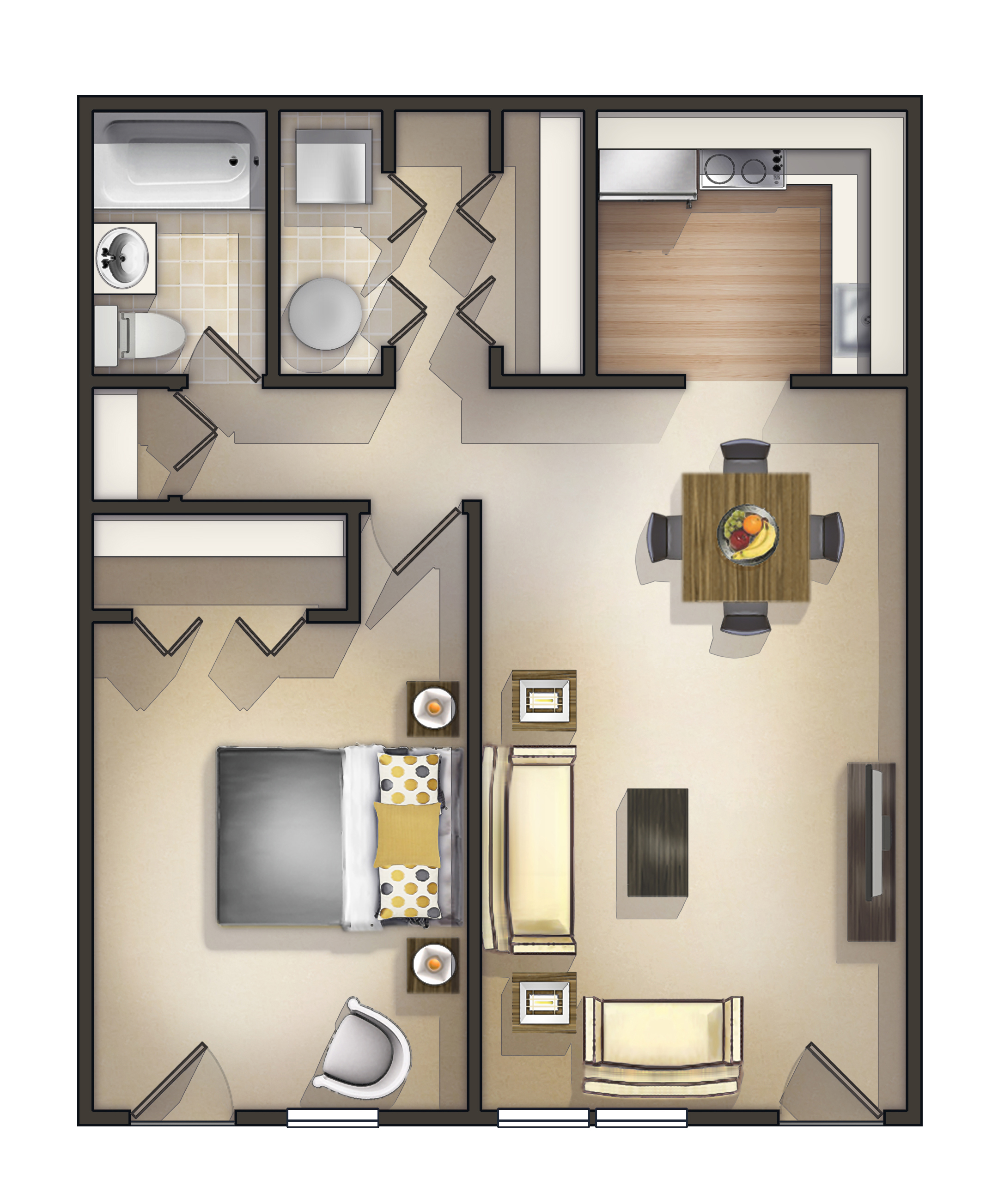1 Bedroom Garden Apartment Floorplan