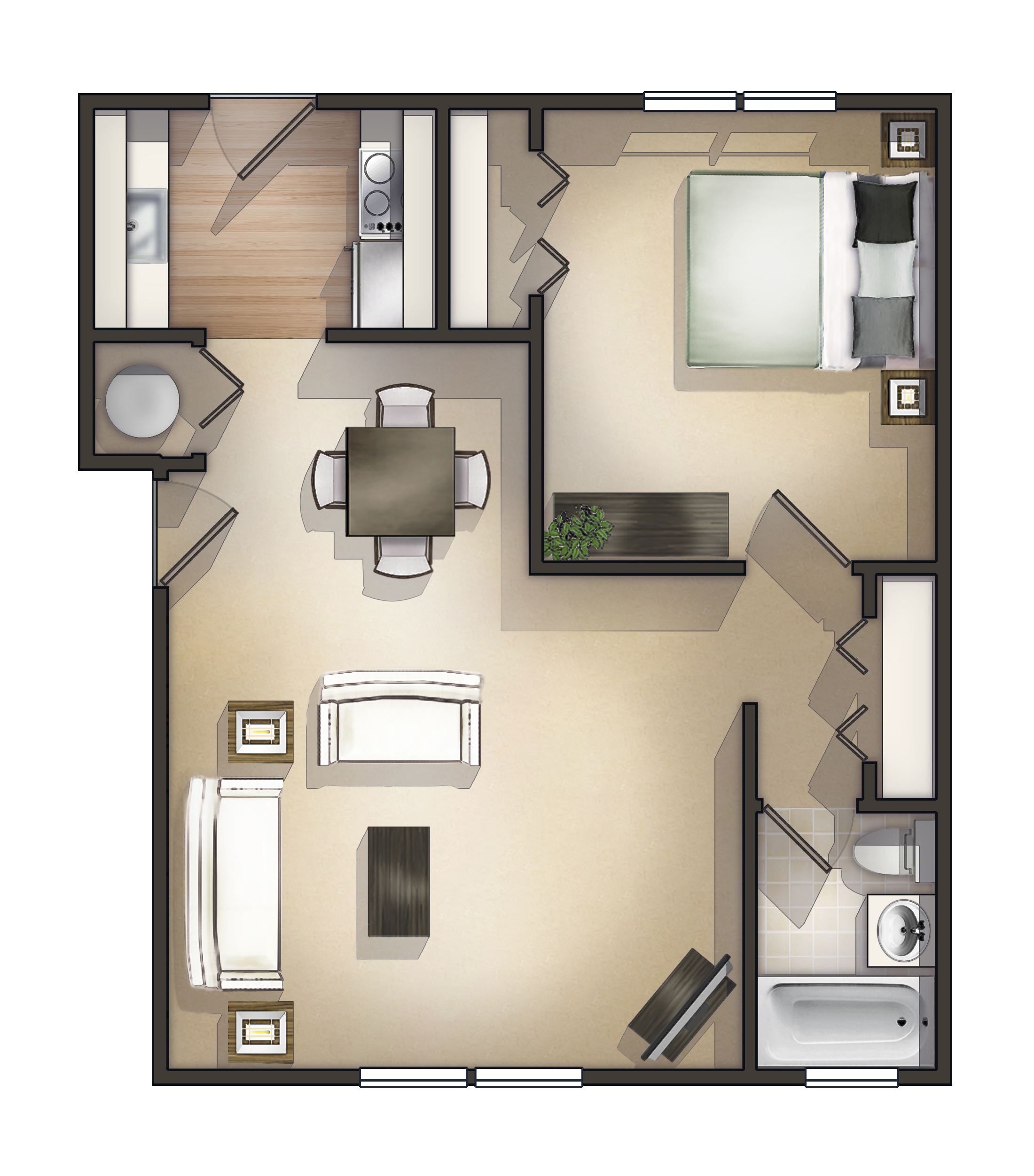 1 Bedroom Deluxe Garden Apartment Floorplan