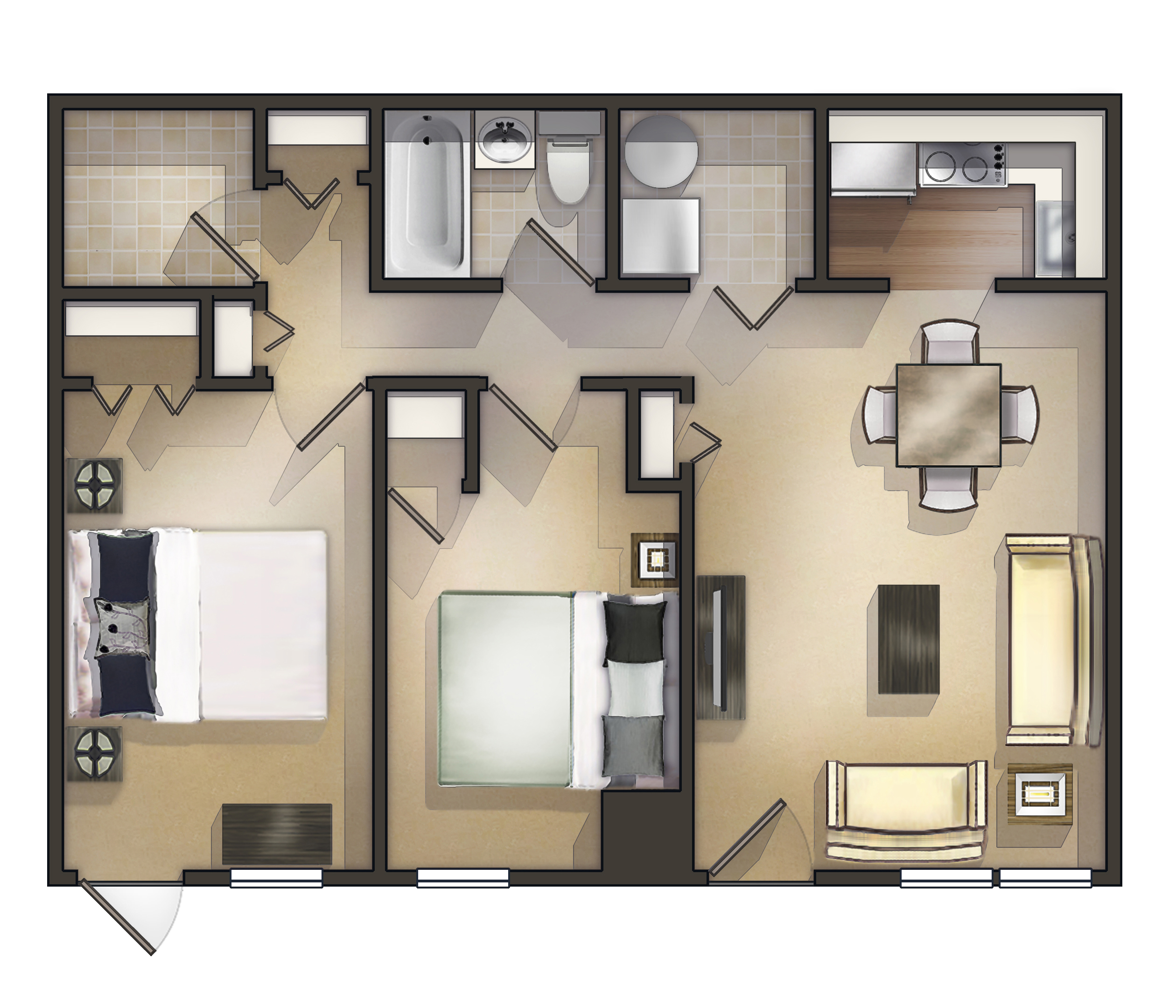 2 Bedroom Garden Apartment Floorplan