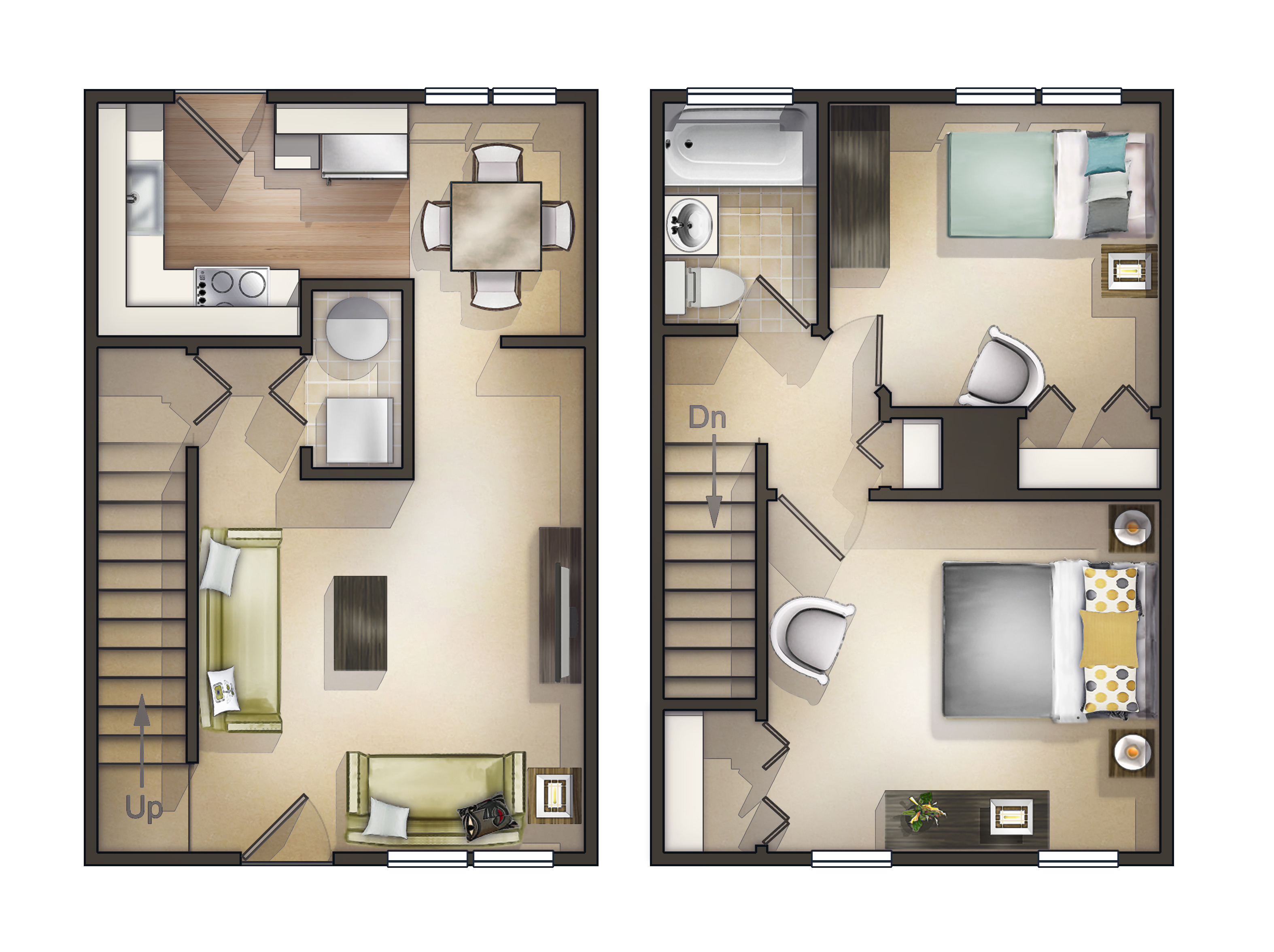 2 Bedroom Townhouse Apartment Floorplan