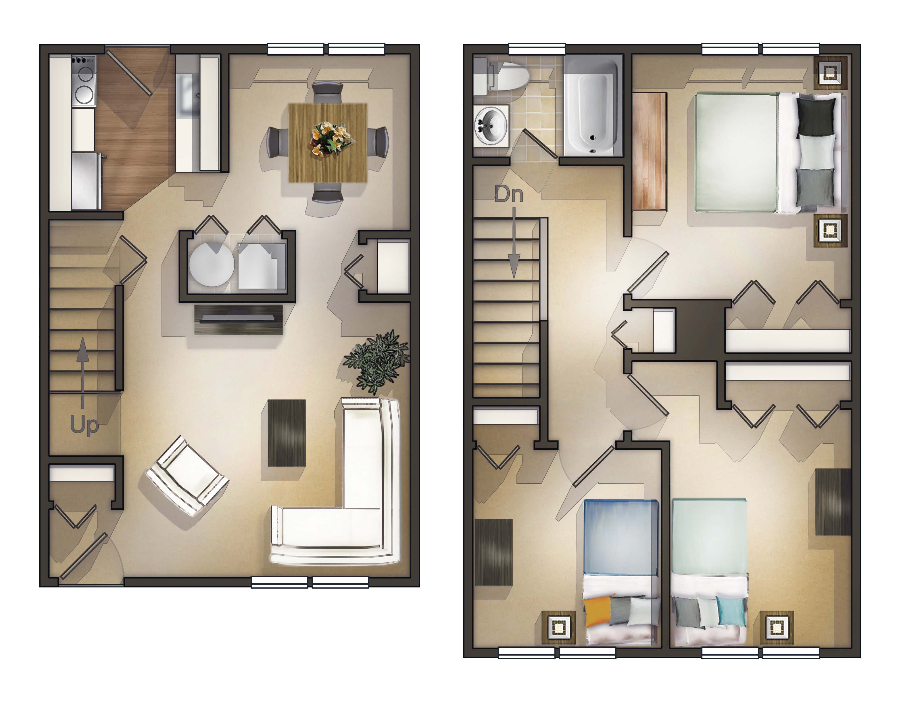 3 Bedroom Townhouse Apartment Floorplan