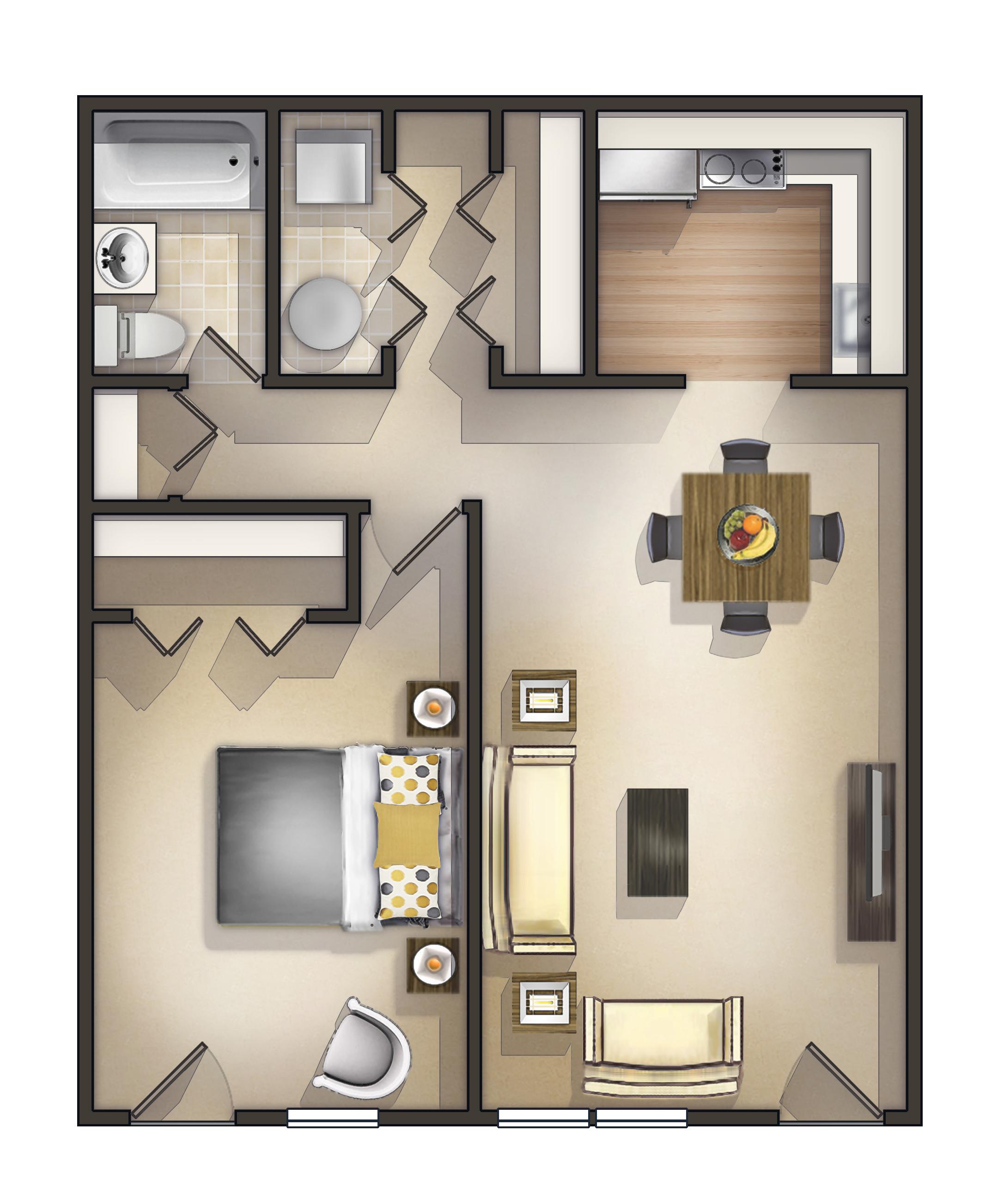 1 Bedroom Garden Apartment